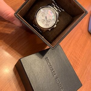 silver MK watch with original box